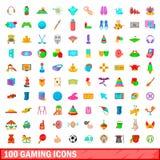 100 ícones ajustados, estilo do jogo dos desenhos animados Foto de Stock