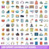 100 ícones ajustados, estilo do journalista do esporte dos desenhos animados ilustração do vetor