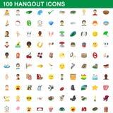100 ícones ajustados, estilo do lugar frequentado dos desenhos animados ilustração do vetor