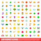 100 ícones ajustados, estilo do mel dos desenhos animados Fotografia de Stock Royalty Free