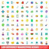 100 ícones ajustados, estilo do mercado do Internet dos desenhos animados Fotos de Stock Royalty Free
