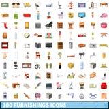 100 ícones ajustados, estilo do mobiliário dos desenhos animados ilustração stock