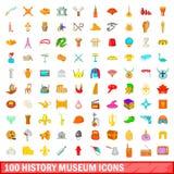 100 ícones ajustados, estilo do museu da história dos desenhos animados Imagem de Stock Royalty Free