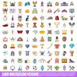 100 ícones ajustados, estilo do museu dos desenhos animados Fotografia de Stock