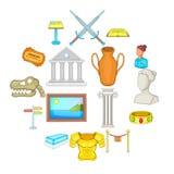 Ícones ajustados, estilo do museu dos desenhos animados Fotografia de Stock