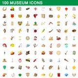 100 ícones ajustados, estilo do museu dos desenhos animados ilustração do vetor