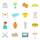 Ícones ajustados, estilo do museu dos desenhos animados Imagem de Stock Royalty Free