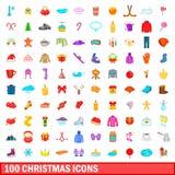 100 ícones ajustados, estilo do Natal dos desenhos animados Imagens de Stock