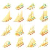 Ícones ajustados, estilo do navio de navigação dos desenhos animados Imagens de Stock