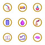 Ícones ajustados, estilo do negócio de óleo dos desenhos animados Imagens de Stock