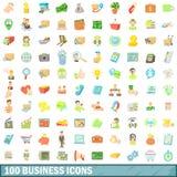100 ícones ajustados, estilo do negócio dos desenhos animados ilustração stock