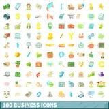 100 ícones ajustados, estilo do negócio dos desenhos animados Foto de Stock