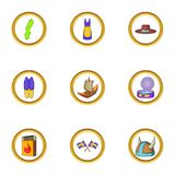Ícones ajustados, estilo do país escandinavo dos desenhos animados Fotografia de Stock Royalty Free