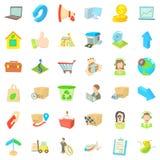 Ícones ajustados, estilo do pacote de transferência dos desenhos animados Fotografia de Stock Royalty Free