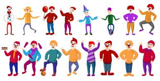 Ícones ajustados, estilo do palhaço dos desenhos animados ilustração stock