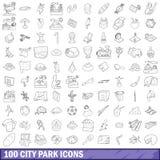 100 ícones ajustados, estilo do parque da cidade do esboço Imagem de Stock Royalty Free