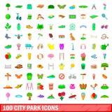 100 ícones ajustados, estilo do parque da cidade dos desenhos animados Imagem de Stock Royalty Free
