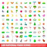 100 ícones ajustados, estilo do parque nacional dos desenhos animados Imagens de Stock Royalty Free