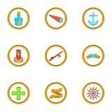 Ícones ajustados, estilo do partido do Dia de Colombo dos desenhos animados Imagem de Stock Royalty Free