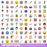 100 ícones ajustados, estilo do partido dos desenhos animados Fotos de Stock Royalty Free