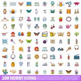 100 ícones ajustados, estilo do passatempo dos desenhos animados Fotografia de Stock