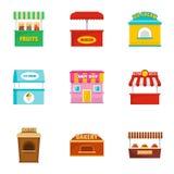 Ícones ajustados, estilo do petisco da rua dos desenhos animados ilustração stock