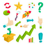 Ícones ajustados, estilo do plano de negócios dos desenhos animados Fotos de Stock