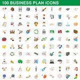100 ícones ajustados, estilo do plano de negócios dos desenhos animados Imagens de Stock Royalty Free