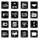 Ícones ajustados, estilo do plano de negócios do grunge ilustração do vetor