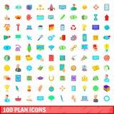 100 ícones ajustados, estilo do plano dos desenhos animados Fotografia de Stock Royalty Free
