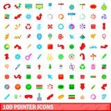 100 ícones ajustados, estilo do ponteiro dos desenhos animados Imagem de Stock Royalty Free