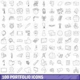 100 ícones ajustados, estilo do portfólio do esboço Imagem de Stock
