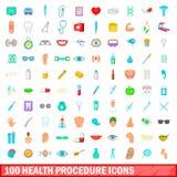 100 ícones ajustados, estilo do procedimento da saúde dos desenhos animados Imagens de Stock