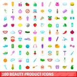 100 ícones ajustados, estilo do produto de beleza dos desenhos animados Fotos de Stock