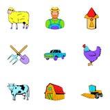 Ícones ajustados, estilo do rancho dos desenhos animados Imagens de Stock