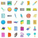Ícones ajustados, estilo do relacionamento comercial dos desenhos animados Fotografia de Stock Royalty Free