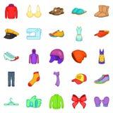 Ícones ajustados, estilo do reparo da roupa dos desenhos animados Fotos de Stock Royalty Free