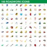 100 ícones ajustados, estilo do roadwork dos desenhos animados Foto de Stock