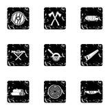 Ícones ajustados, estilo do sawing do grunge ilustração do vetor