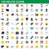 100 ícones ajustados, estilo do selfie dos desenhos animados ilustração royalty free