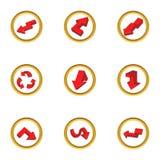 Ícones ajustados, estilo do sentido de condução dos desenhos animados ilustração do vetor