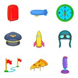 Ícones ajustados, estilo do sentido dos desenhos animados Fotos de Stock