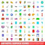 100 ícones ajustados, estilo do serviço de hotel dos desenhos animados Imagens de Stock Royalty Free
