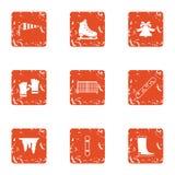 Ícones ajustados, estilo do sino do inverno do grunge ilustração stock