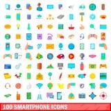 100 ícones ajustados, estilo do smartphone dos desenhos animados Fotografia de Stock Royalty Free