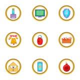 Ícones ajustados, estilo do Spam dos desenhos animados Foto de Stock