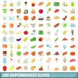 100 ícones ajustados, estilo do supermercado dos desenhos animados ilustração do vetor