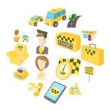 Ícones ajustados, estilo do táxi dos desenhos animados Imagens de Stock Royalty Free