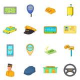 Ícones ajustados, estilo do táxi dos desenhos animados Fotos de Stock