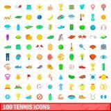 100 ícones ajustados, estilo do tênis dos desenhos animados Imagens de Stock Royalty Free